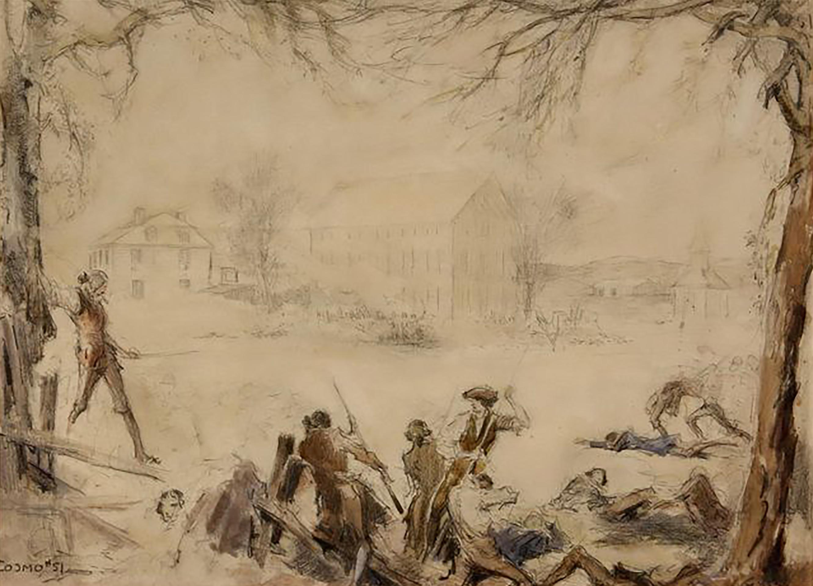 """Attributed to; Design for the Battle of Lexington Scene in 1924 Film """"Jani"""