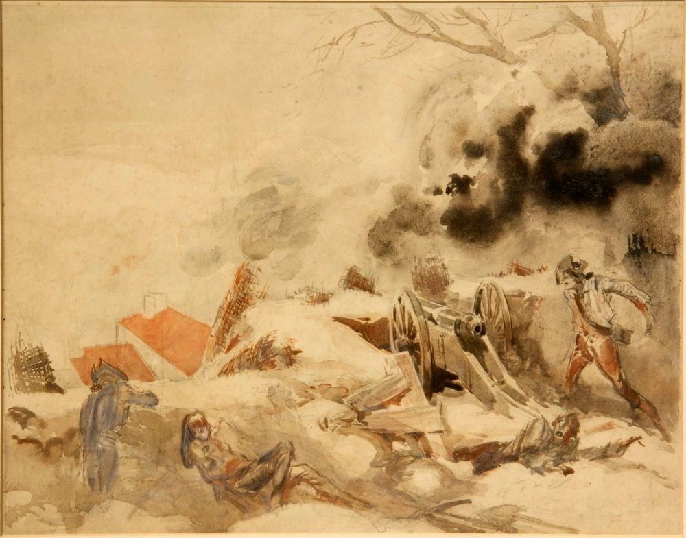 Attributed to; Design for the Battle of Brooklyn Heights Scene in 1924 Film