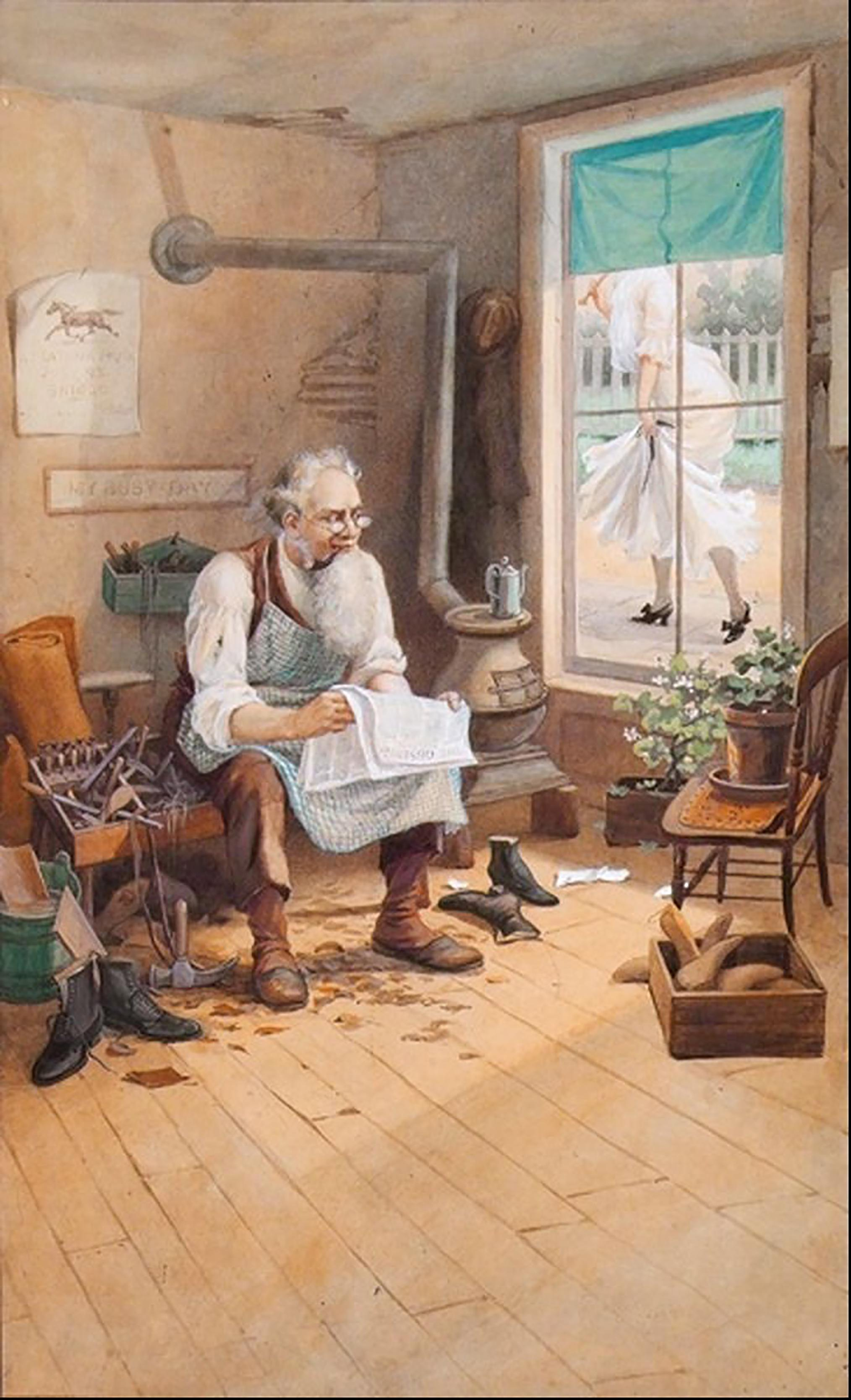 Elderly cobbler reading paper peering out window