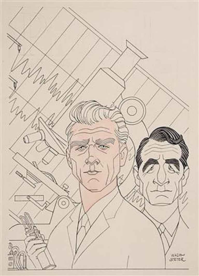 "George Wachsteter Figurative Art - Portraits of Leslie Nielsen & John Beradino for ""The New Breed"""