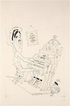 Caricature of Tennessee Ernie Ford at a Pump Organ