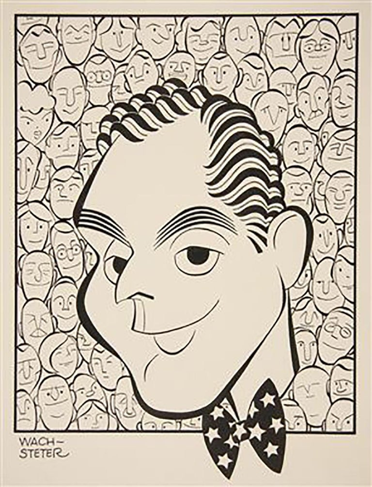 """George Wachsteter Figurative Art - Caricature for NBC-TV Host Dan Seymour, for September 1951, """"We the People"""""""