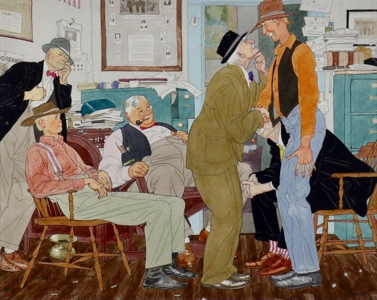 Harry Beckhoff Interior Art - Men in Newspaper Office