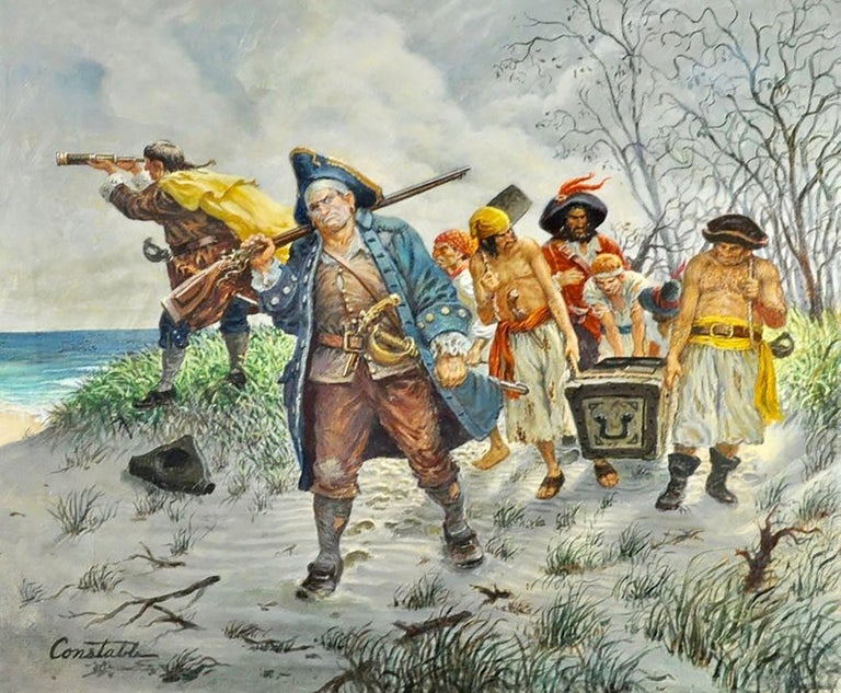 Constable Figurative Painting - Pirates with Treasure