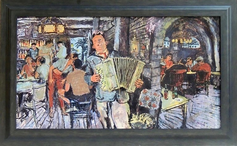 Accordion Player in Tavern - Art by Marvin Friedman