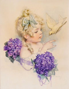 Girl with Bird and Violets