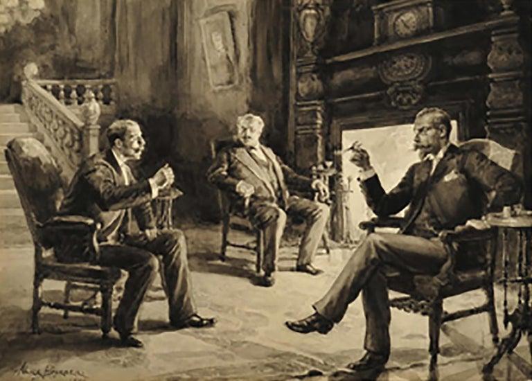 Alice Barber Stephens Interior Art - Men in Discussion Fireside