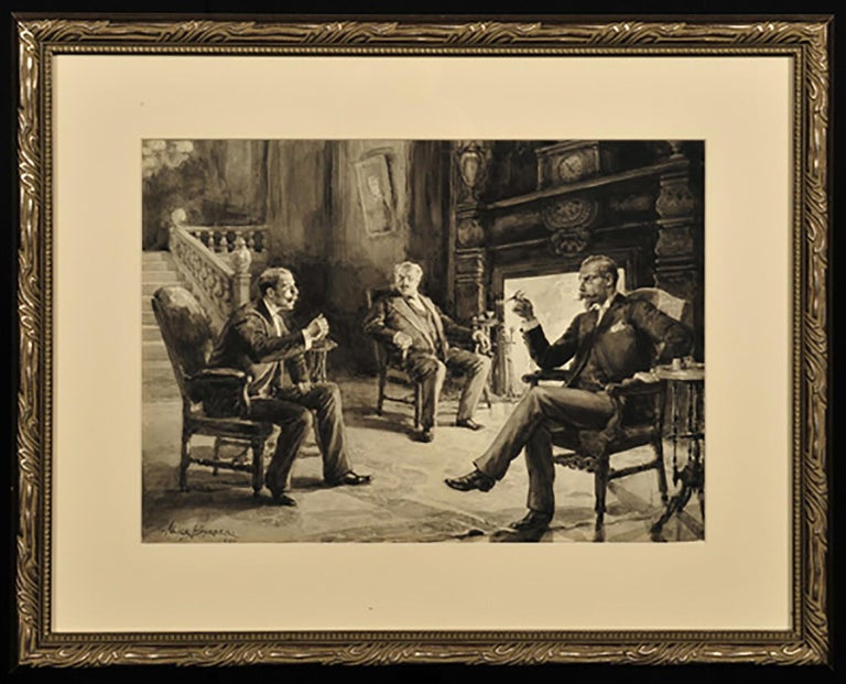 Men in Discussion Fireside - Art by Alice Barber Stephens