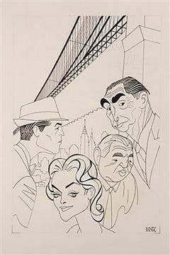 """Caricature of CBS-TV's First Police Drama, """"The Naked City"""""""
