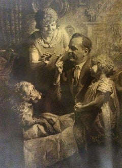 Father Smoking a Cigarette Surrounded by Family