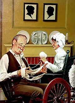 Grandfather Helps with Knitting