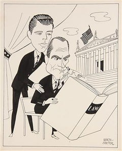 "Caricature Cover Design of E. G. Marshall and Robert Reed for ""The Defender"
