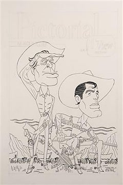 "Caricature Portrait of Ward Bond and Robert Horton for ""Wagon Train"""