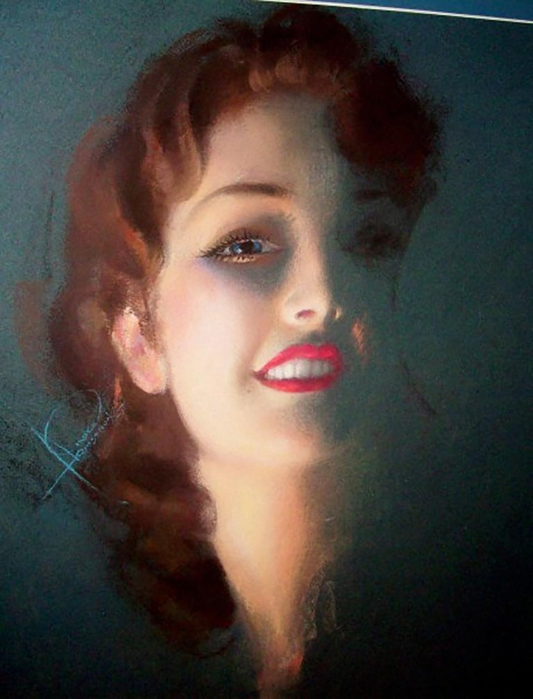 """Rolf Armstrong Portrait - Cover of 'Illustrated Love"""" Magazine"""