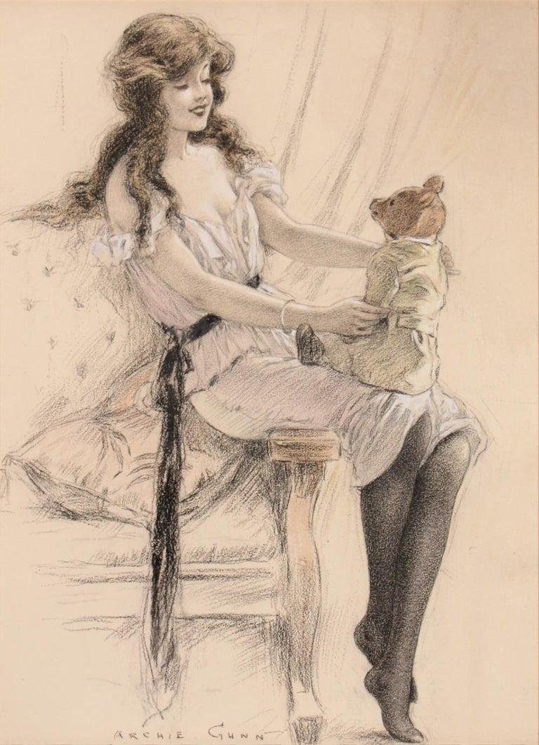 Archie Gunn Figurative Art - Girl With Teddy Bear