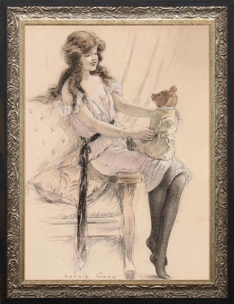 Girl With Teddy Bear - Art by Archie Gunn