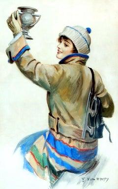 Skating Woman, American Art Works Calendar Illustration, 1917