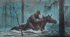 Cowboy on Horseback in the Rain