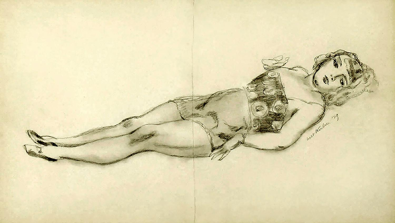 Circus girl reclining