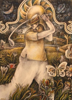 Golf Swing with Psychedelic Butterfly, Funky Chickens and Groovy Flowers