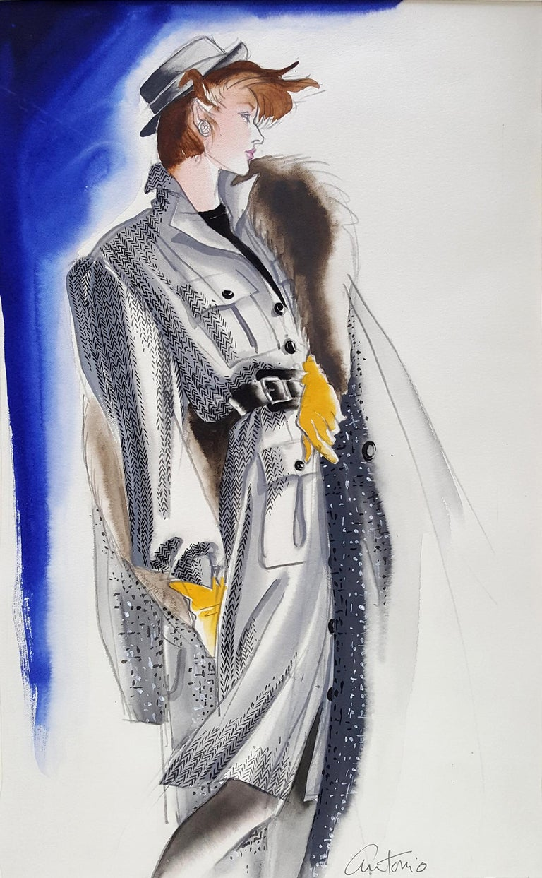 Antonio Lopez Figurative Art - Vogue Magazine, Elegant Fashion Illustration for Adel Simpson