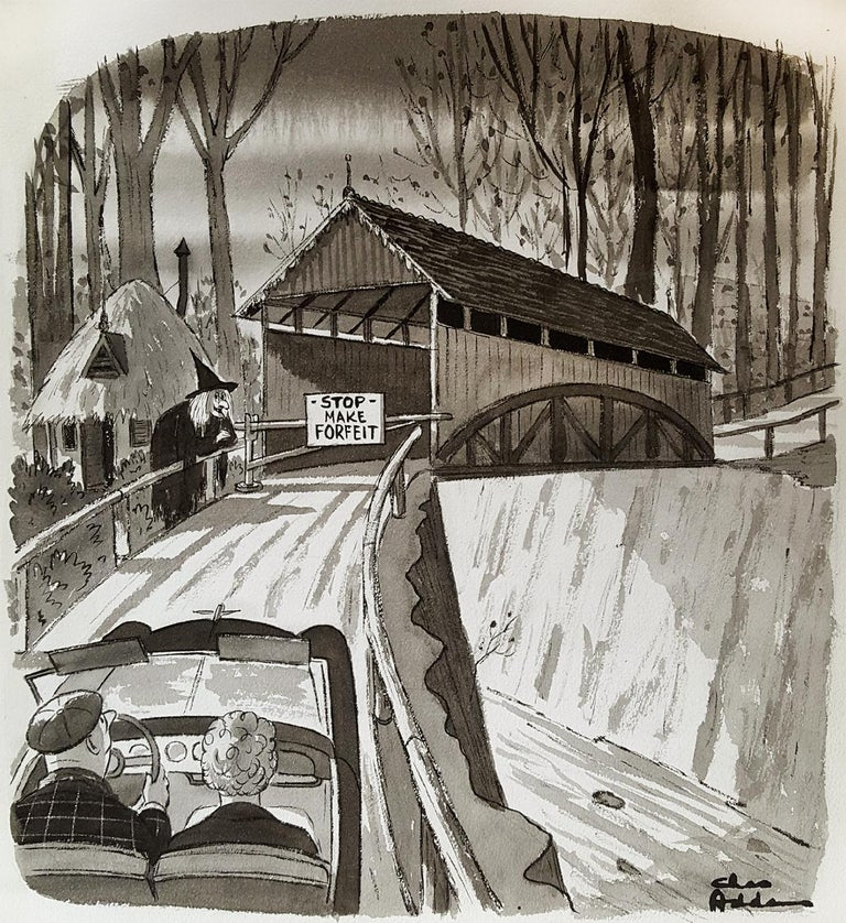 """Charles Samuel Addams Figurative Art - Witch at Covered Bridge,  """"STOP MAKE FORFEIT"""""""