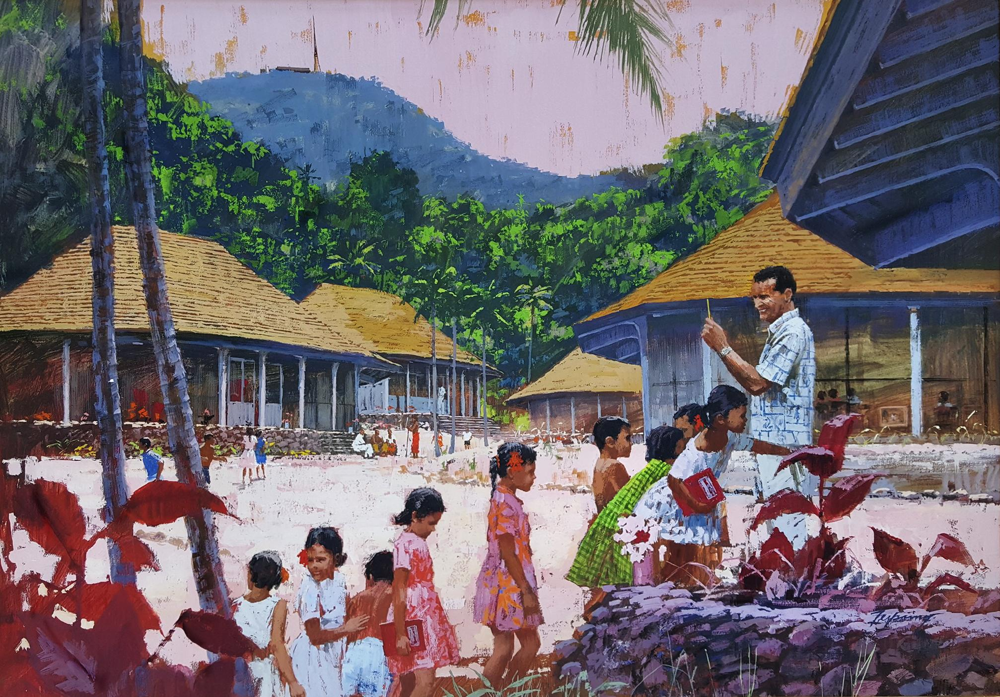 TropicalHawaiian School. Teacher and children,  Illustration Art  General Ele