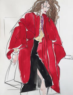 Fashion Model in Red Illustration for Italian Vogue