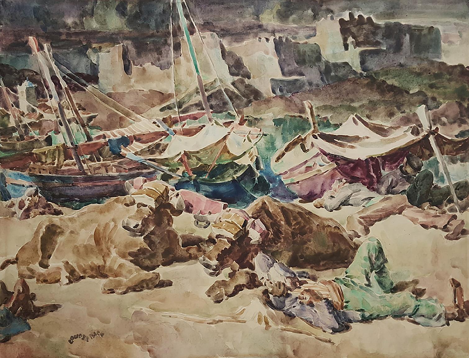 Mediterranean Sailboats and Sleeping Sailors