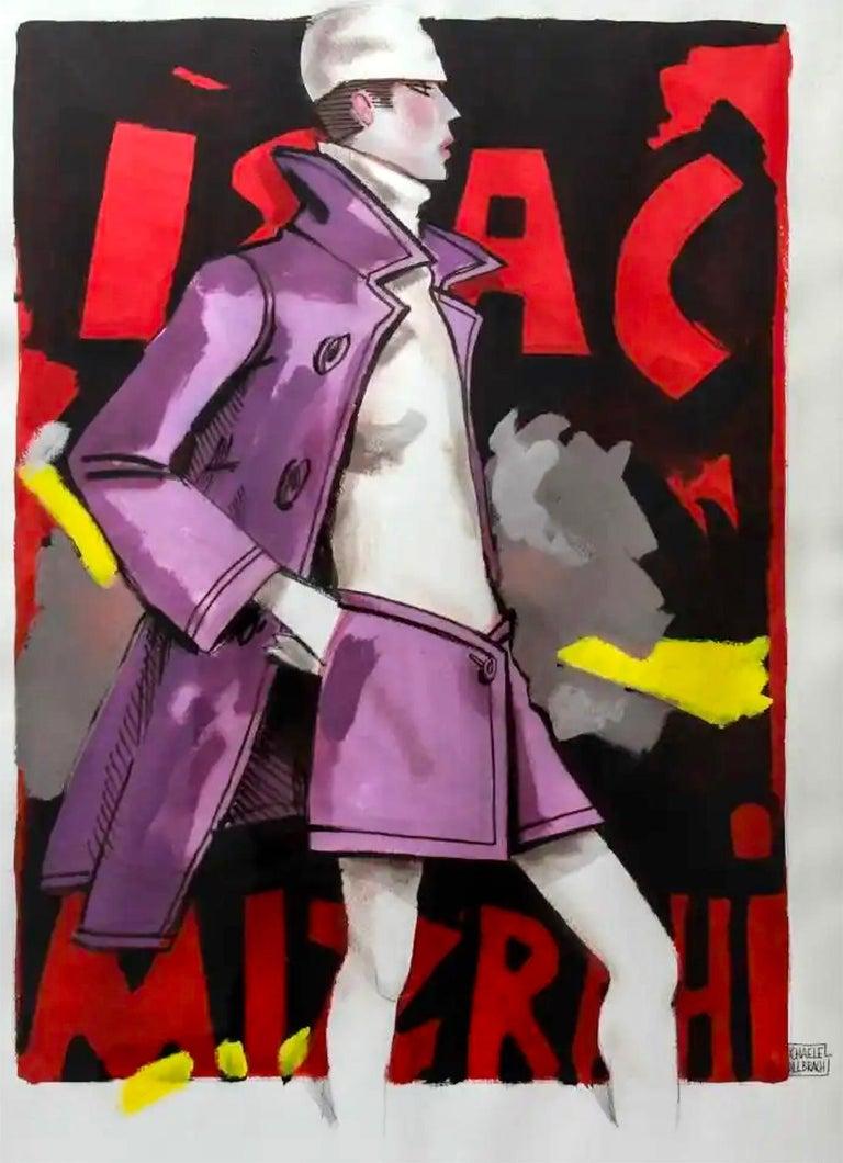 Michaele Vollbracht Figurative Art - Issac Mizrahi illustration