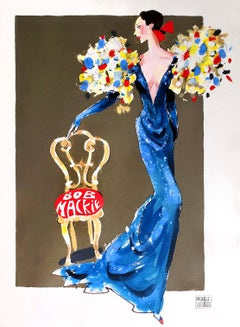 Fashion Illustration of Elegant woman in Bob Mackie dress perhaps for Cher
