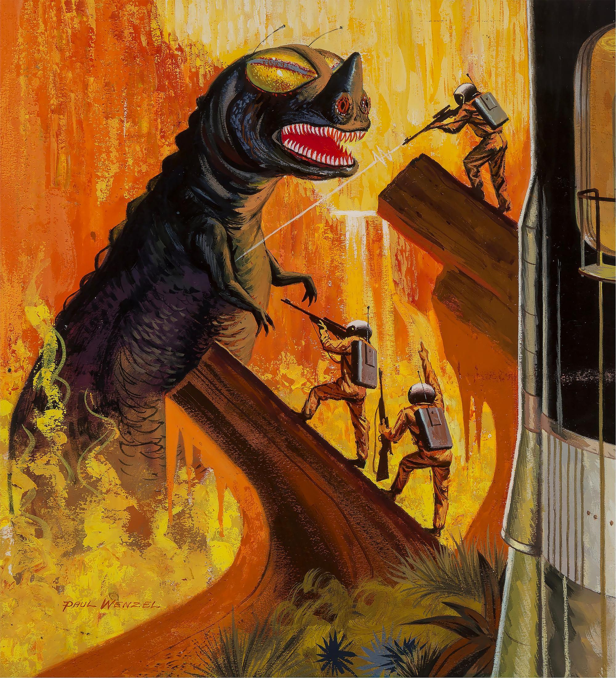 Godzilla like Dinosaur Monster, SciFi, Science Fiction Cover Illustration