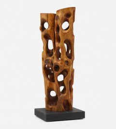 Untitled Carved Organic Shaped  Natural Wood Sculpture