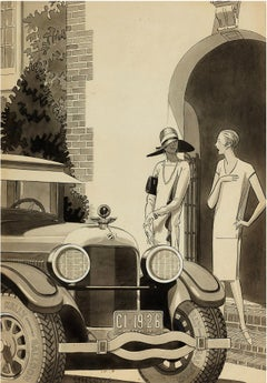 Art Deco Women Flappers in from of Packard Car