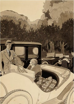Art Deco Couple in Classic cars from the 1920's