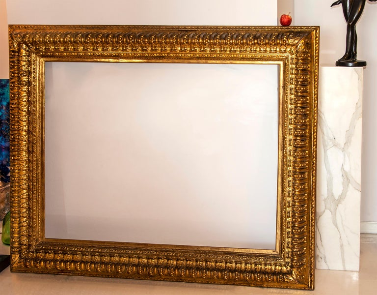 19th century Italian Rococo Gilt Wood Picture frame with ornate foliate. - Art by Unknown