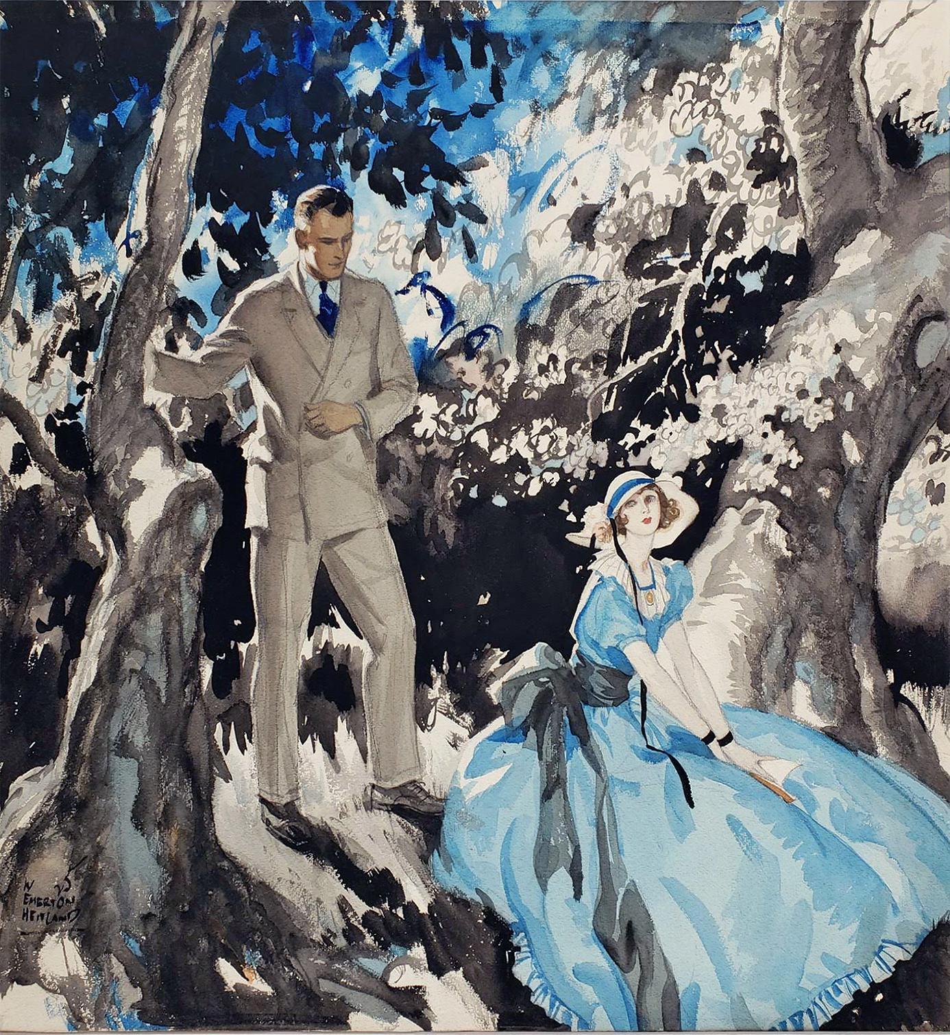 Art Deco Handsome Couple in Garden Illustration