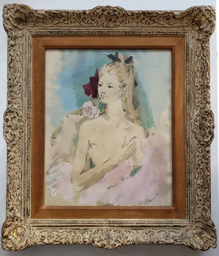 Beautiful Girl with Rose in her Mouth ( House of Heydenryk Frame) ( Pair) 2