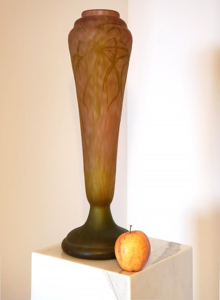 Daum Nancy Vase Art Nouveau Cameo French Art Glass 20.5 inches - Sculpture by Daum Nancy