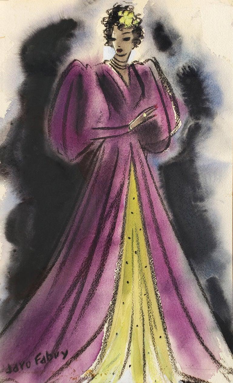 Jaro Fabry Figurative Art - Art Deco Glamorous woman in Purple Evening Dress  - Golden Age of Hollywood