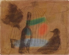 Untitled, Wine Bottle and  Bird outside of a Bird Cage in Moody Brown