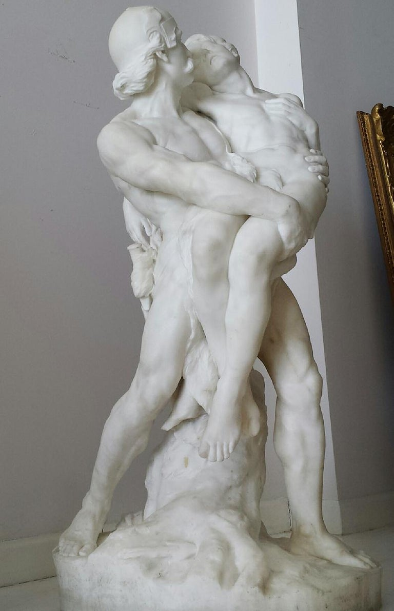 Warrior and Wounded Youth.  Helmeted mustachioed man holding Wounded - Lion Face - Sculpture by William John Seward Webber