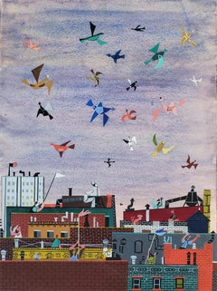 Joyful Birds flying over New York City Rooftops,  (The  Happy Painting )