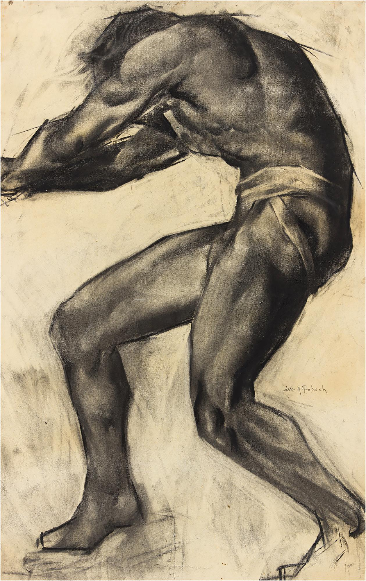 Muscular Male Nude with Bulging Muscles  Art Deco