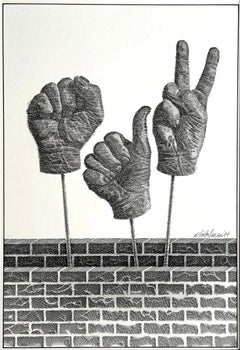 Black Power Fist, Thumbs Up, Peace Sign - Hand Signals