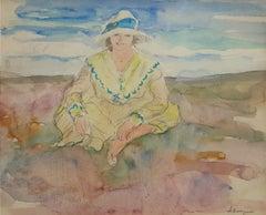 """Le Jeune Fille,  Study for """"Jeune fille assise sur la plage"""