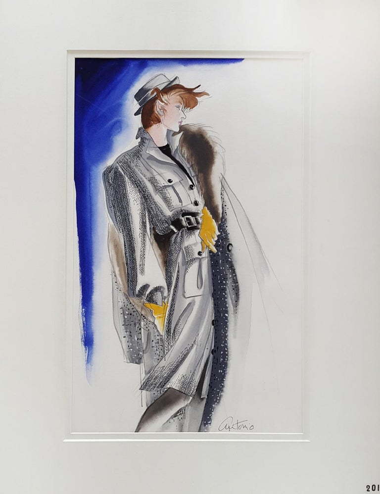 Vogue USA, Fashion Illustration. Meticulously drawn in a descriptive and yet creative way. Antonio's full mastery of his art is on full display. Signed lower right. Double matted but not frame