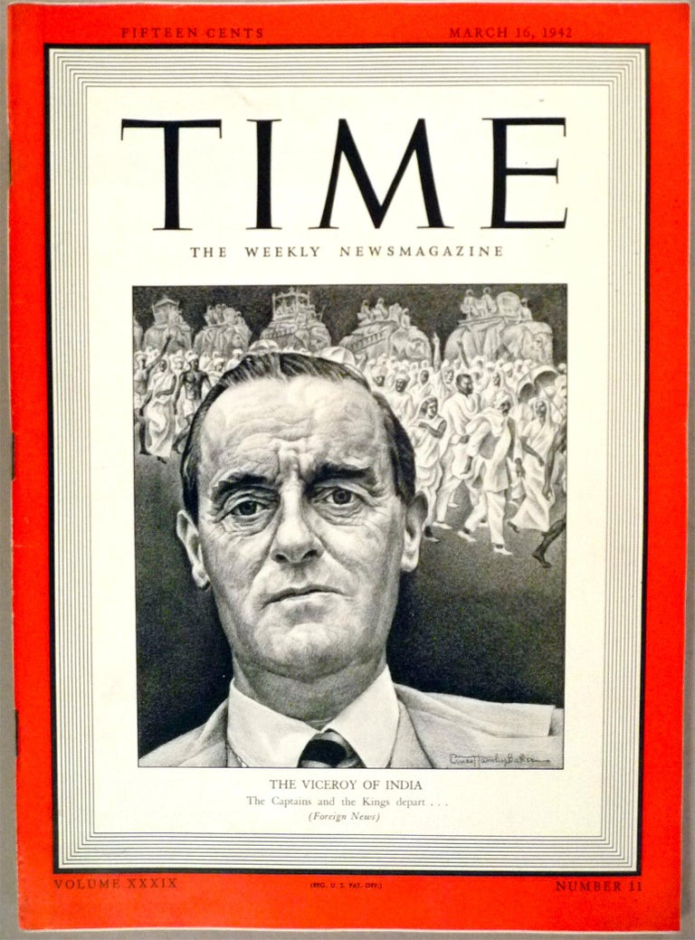 Lord Lithgow, Time magazine cover, March 16, 1942 - Realist Art by Ernest Hamlin Baker