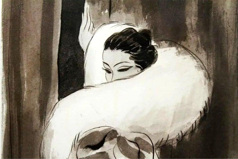 Art Deco Vogue Magazine Illustration  - Beige Figurative Art by Eduardo Garcia Benito