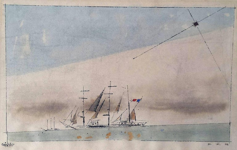 Lyonel Feininger Landscape Art - Bauhaus .  Untitled (French Barque under Staysail)